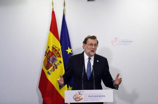 El presidente del Gobierno, Mariano Rajoy, durante la rueda de prensa ofrecida al término de la VI Conferencia de Presidentes Autonómicos.