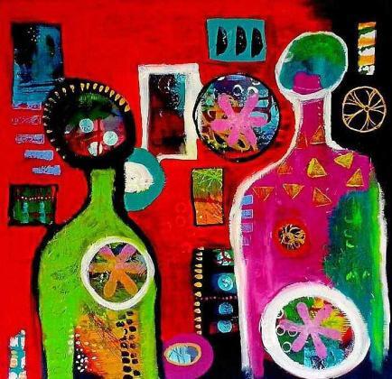 'In-acabado' está compuesto por 15 obras realizadas en acrílico sobre lienzo de diversos tamaños y un estilo que se acerca a la abstracción.