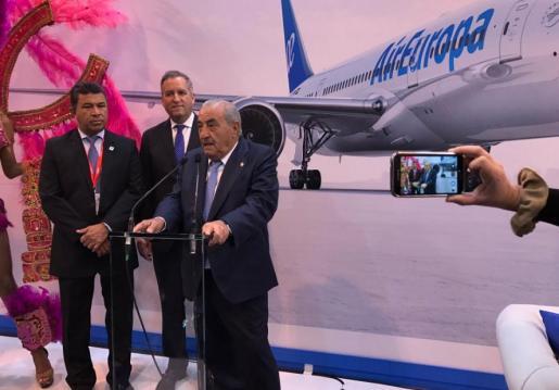 El presidente de Air Europa, Juan José Hidalgo, en un acto en la feria turística madrileña.