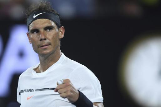 El tenista Rafael Nadal celebra su victoria ante el chipriota Marcos Baghdatis.