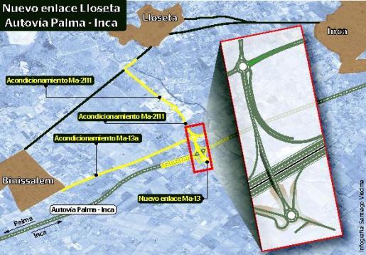 Gráfico del enlace previsto de la autopista a Lloseta.
