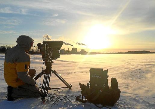 Escena durante el rodaje del documental en Finlandia.