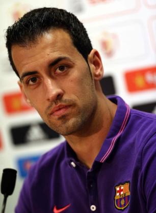 En la imagen, el jugador del FC Barcelona Sergio Busquets durante una rueda de prensa.