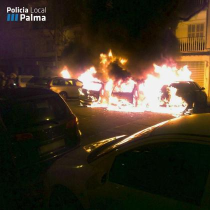 La virulencia de las llamas ha obligado a los agentes y a los bomberos a una rápida intervención.