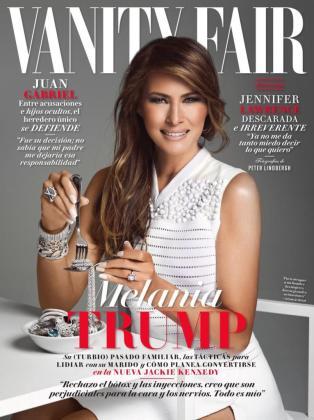 La primera dama de EEUU aparece en la portada de la edición mexicana de Vanity Fair 'comiendo joyas'.