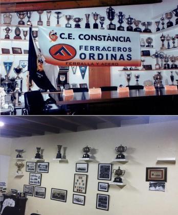 En las imágenes, colgadas por el Constància en Facebook, se muestra el estado previo y actual de la sala de trofeos y las oficinas del club de es Raiguer.