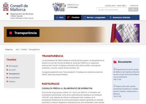En la imagen, la página web del IMAS.