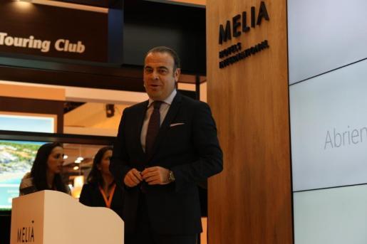 El consejero delegado de Meliá, en el reciente encuentro turístico de Fitur, en Madrid.
