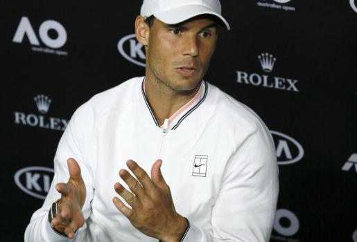 Rafael Nadal durante una rueda de prensa a principios de 2017.