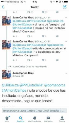 Comentarios de Grau en Twitter.