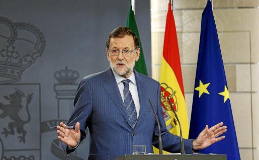 El presidente del Gobierno, Mariano Rajoy, durante una rueda de prensa en el Palacio de la Moncloa.
