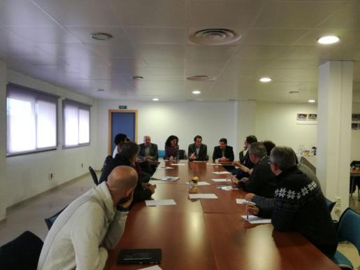 En la imagen, el conseller de Territori, Energia i Movilitat, Marc Pons, con los alcaldes y representantes de los núcleos urbanos de Llevant.