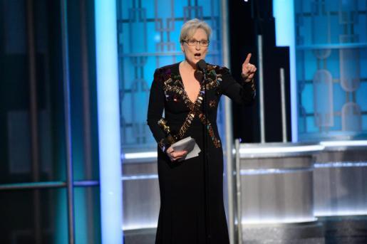 Imagen de archivo de la actriz Meryl Streep durante su discurso en los Globos de Oro