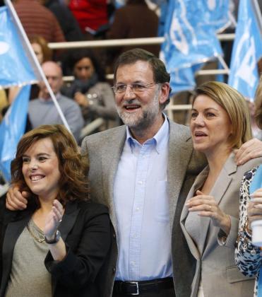 Mariano Rajoy con Soraya Saenz de Santamaria y Maria Dolores de Cospedal, en una imagen de archivo.