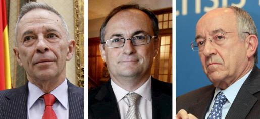 Julio Segura, expresidente de la CNMV; Fernando Restoy, exsubgobernador del Banco de España, y Miguel Ángel Fernández Ordóñez, exgobernador.
