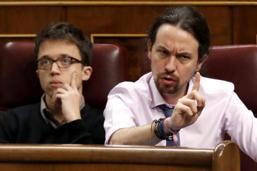 El líder de Podemos, Pablo Iglesias, durante la sesión de control al Gobierno.