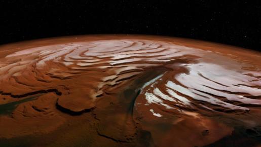Imagen facilitada por la Agencia Espacial Europea (ESA) del casquete polar norte de Marte, con el cañon conocido como Chasma Boreale.