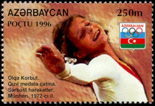 Sello conmemorativo de la medalla de oro obtenida por Olga Korbut.
