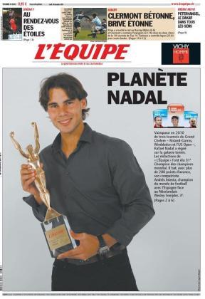 El diario deportivo L'Equipe abre su portada con el titular 'Planeta Nadal'.