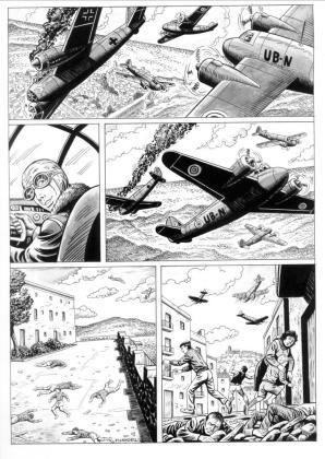 La primera página publicada. En ella Juan Escandell ha plasmado a la perfección el combate que se vivió el 10 de enero de 1944 en el cielo de la ciudad de Ibiza.