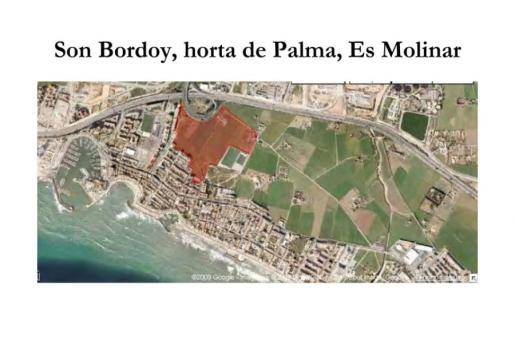 Mapa que muestra la destrucción de Son Bordoi del Molinar.