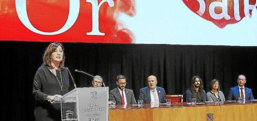 Armengol, durante el discurso del Dia de les Illes Balears, en el que propuso reformar el Estatut.
