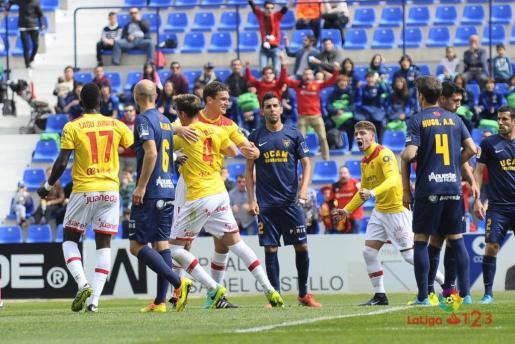 Los jugadores del Real Mallorca celebran el gol de Raillo (0-1) ante el UCAM Murcia.
