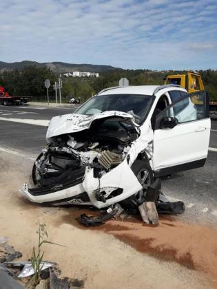 Estado en el que ha quedado uno de los vehículos involucrados en el suceso.