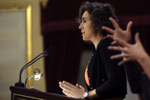 La ministra de Sanidad, Servicios Sociales e Igualdad, Dolors Montserrat, durante su comparecencia ante la Comisión General de las Comunidades Autónomas del Senado.