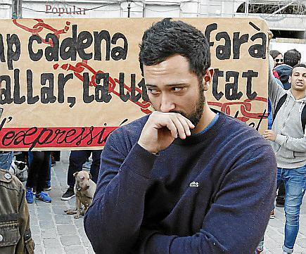 Valtonyc, en una concentración en Palma.