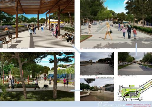 El proyecto ganador prevé instalar pérgolas superpuestas, unir la plaza con la avenida Reis Catòlics con un puente e incrementar las zonas verdes.
