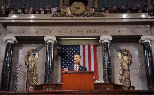 El presidente de los Estados Unidos Barack Obama durante un discurso en el Capitolio de Washington.