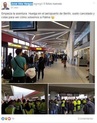 José Hila ha publicado en Facebook imágenes de la complicada situación que se vive en los aeropuertos berlineses, con una huelga coincidiendo en plena feria turística.