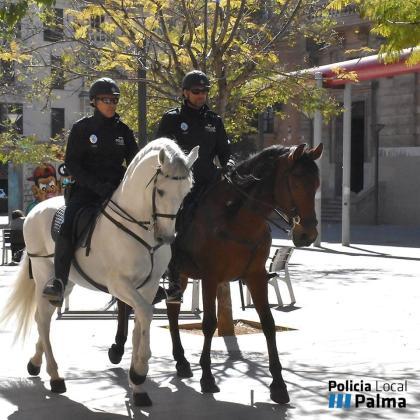Dos agentes a caballo patrullan por la conocida como plaza del Tubo de Palma.