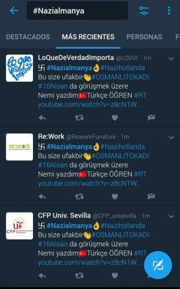 Captura de mensajes 'hackeados' de cuentas españolas.