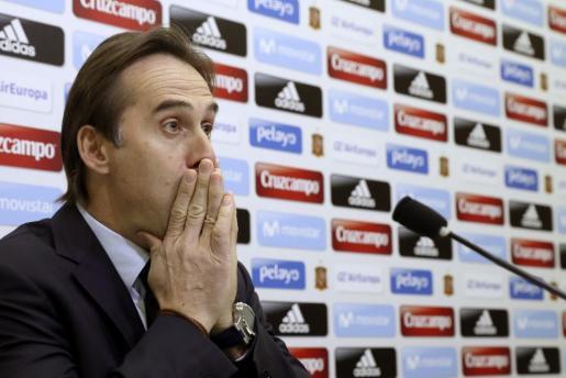 El seleccionador nacional, Julen Lopetegui, durante la rueda de prensa en la Ciudad del Fútbol.