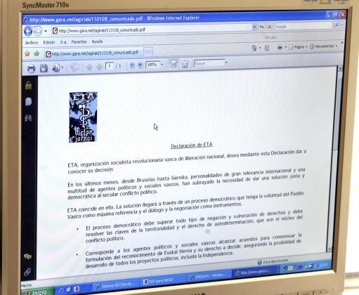 Página digital del diario GARA con el comunicado que la organización terrorista ha hecho llegar a este medio.