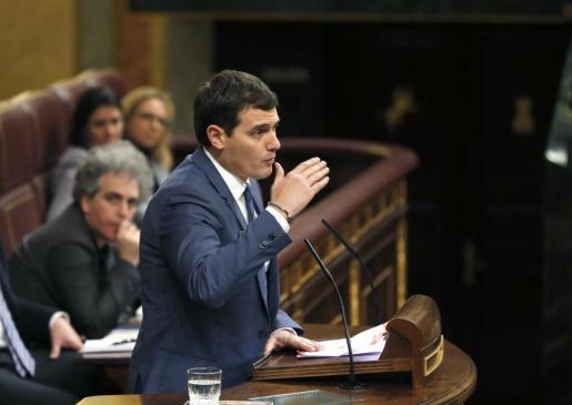El líder de Ciudadanos, Albert Rivera, durante una intervención en el Congreso de los Diputados.
