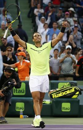 Rafa Nadal celebra la victoria en primera ronda del Masters 1.000 de Miami