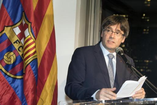 Carles Puigdemont, presidente de la Generalitat de Cataluña, durante una visita a las oficinas del FC Barcelona en Nueva York.