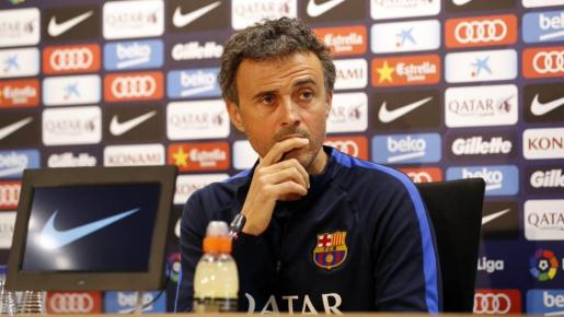 El entrenador del FC Barcelona, Luis Enrique, en la rueda de prensa de este martes.