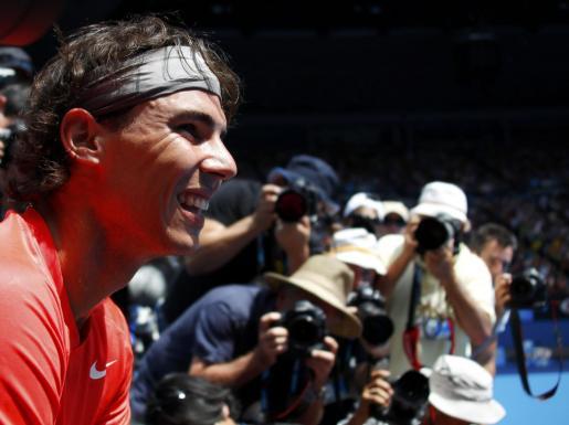 Rafael Nadal, durante el partido benéfico que disputó el sábado en Australia.