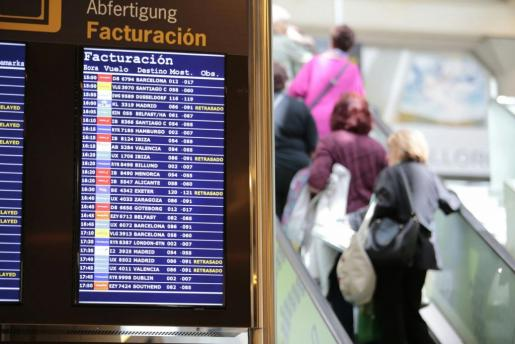 Imagen de la pantalla con algunos de los vuelos retrasados.