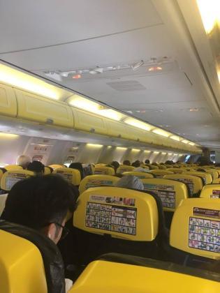 Imagen del interior de una de las aeronaves paralizadas por el fallo técnico de Son Sant Joan.