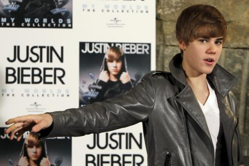 "Justin Bieber durante la presentación en Madrid de su disco ""My worlds The Collection""."
