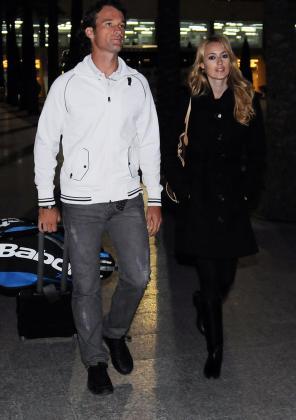 Moyà y Cerezuela, en su llegada al aeropuerto de Palma.