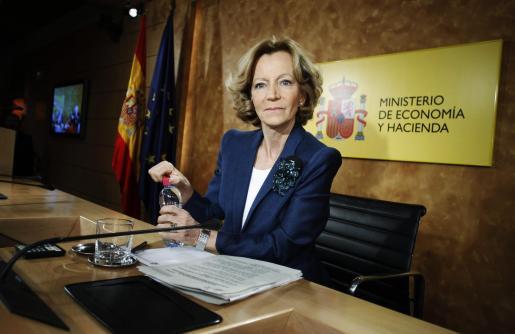 La ministra de Economía, Elena Salgado, durante la rueda de prensa ofrecida esta tarde.