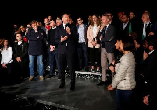 Matteo Renzi en la sede del Partido Demócrata.