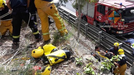 Momento en el que lo bomberos rescatan a la mujer que se había precipitado al margen de la autopista.