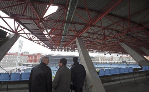 Estadio municipal de Balaídos, con desperfectos en parte de la estructura de la grada a causa del temporal.